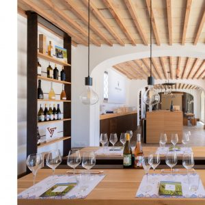 Vini in degustazione nell'elegante enoteca del baglio